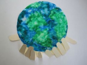 Earth Day Coffee Filter with Hands Craft