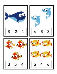 Fish Num Cards 1-4