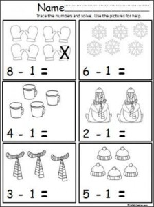Free winter math subtraction page