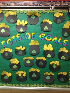 March Pots of Goals bulletin board