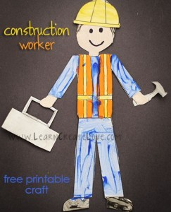 Printable Construction Worker Craft