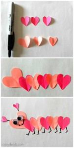 Valentine's Day Heart Caterpillar Craft For Kids