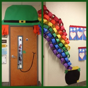 classroom door for St Patrick's Day