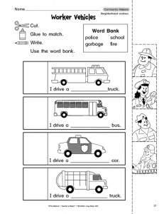 math worksheet :  munity helpers cut paste worksheet  crafts and worksheets for  : Community Helpers Kindergarten Worksheets