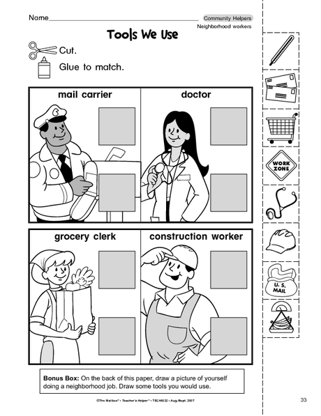 Printables Free Community Helpers Worksheets community helpers cut paste worksheet crafts and worksheets for 6