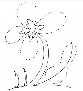 free flower trace worksheet for kids
