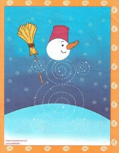 free snowman trace worksheet