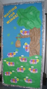 handprint caterpillar bulletin board