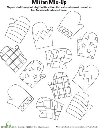 mitten match worksheet