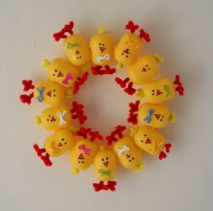 plastic egg chick wreath craft