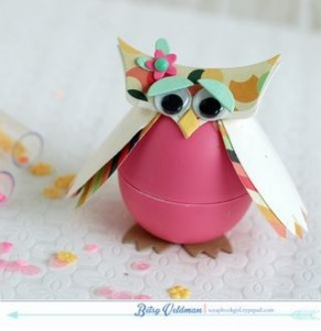 plastic egg owl craft