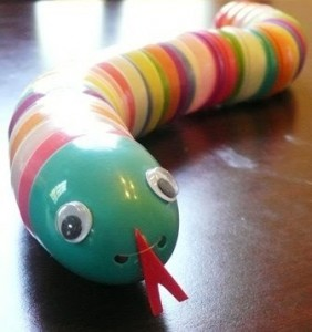 plastic egg snake craft