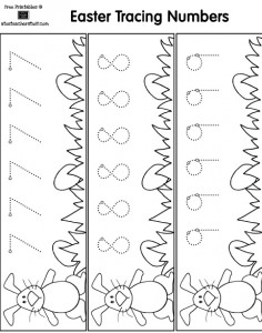 printable easter number trace worksheet