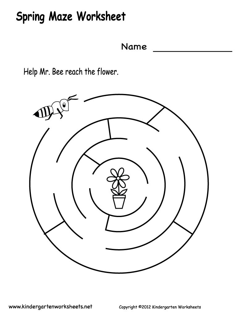 Worksheets Maze Worksheet craftsactvities and worksheets for preschooltoddler kindergarten spring maze worksheet printable