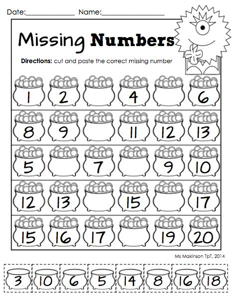Missing Number Worksheets 1 20 - Davezan