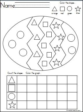 Easter Egg Shapes Graph for practice with shape recognition