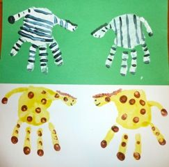 Handprint zoo animals craft