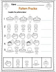 math worksheet : pattern worksheet for kids  crafts and worksheets for preschool  : Kindergarten Thanksgiving Worksheets