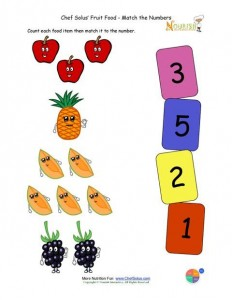 Preschool Matching Foods and Numbers Activity 1