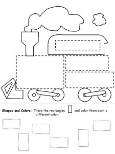 Trace and Color Shapes Train Worksheet