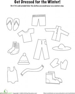 ... And Clothes preschool winter clothing pattern trace clothes worksheet