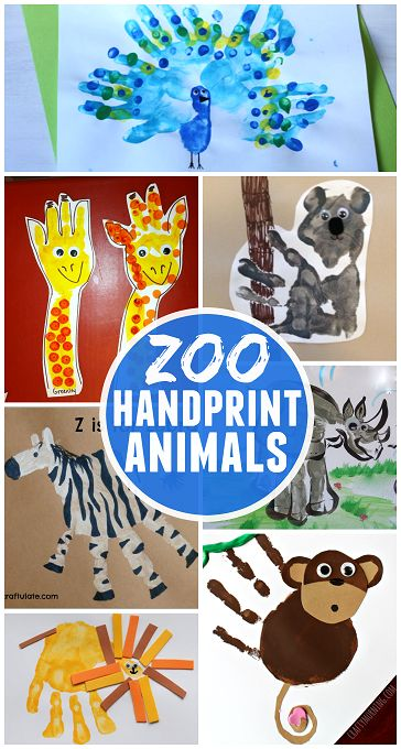 Zoo Animal Handprint Crafts for Kids