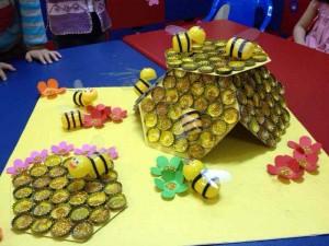 bottle cap bee bulletin board