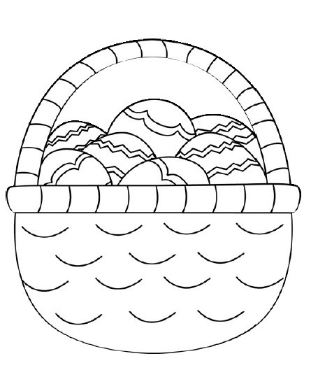 easter egg basket coloring page