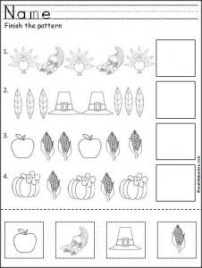 free Thanksgiving pattern worksheet