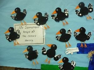 handprint crow bulletin board 1