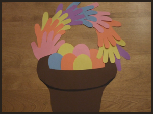 handprint easter basket craft