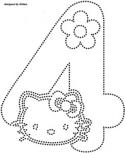 hello kitty number 4  trace worksheet