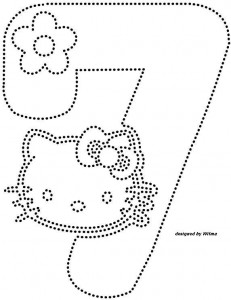 hello kitty number 7 trace worksheet
