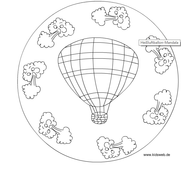 hot air balloon mandala coloring
