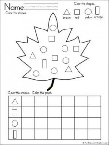 leaf shapes graph worksheet