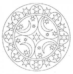 moon and star mandala coloring
