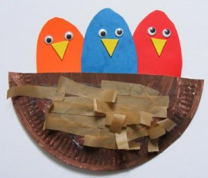 paper plate bird nest craft