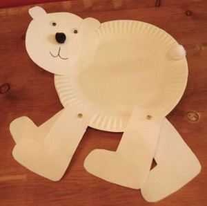 paper plate polar bear craft idea