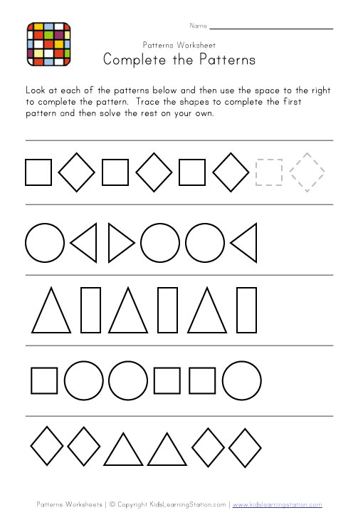 Pattern Worksheet Bw on free printable animal pattern worksheet for kindergarten