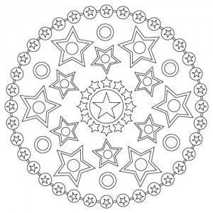 Space mandala coloring page for