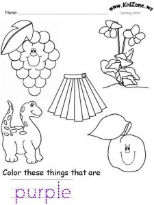 purple color worksheet