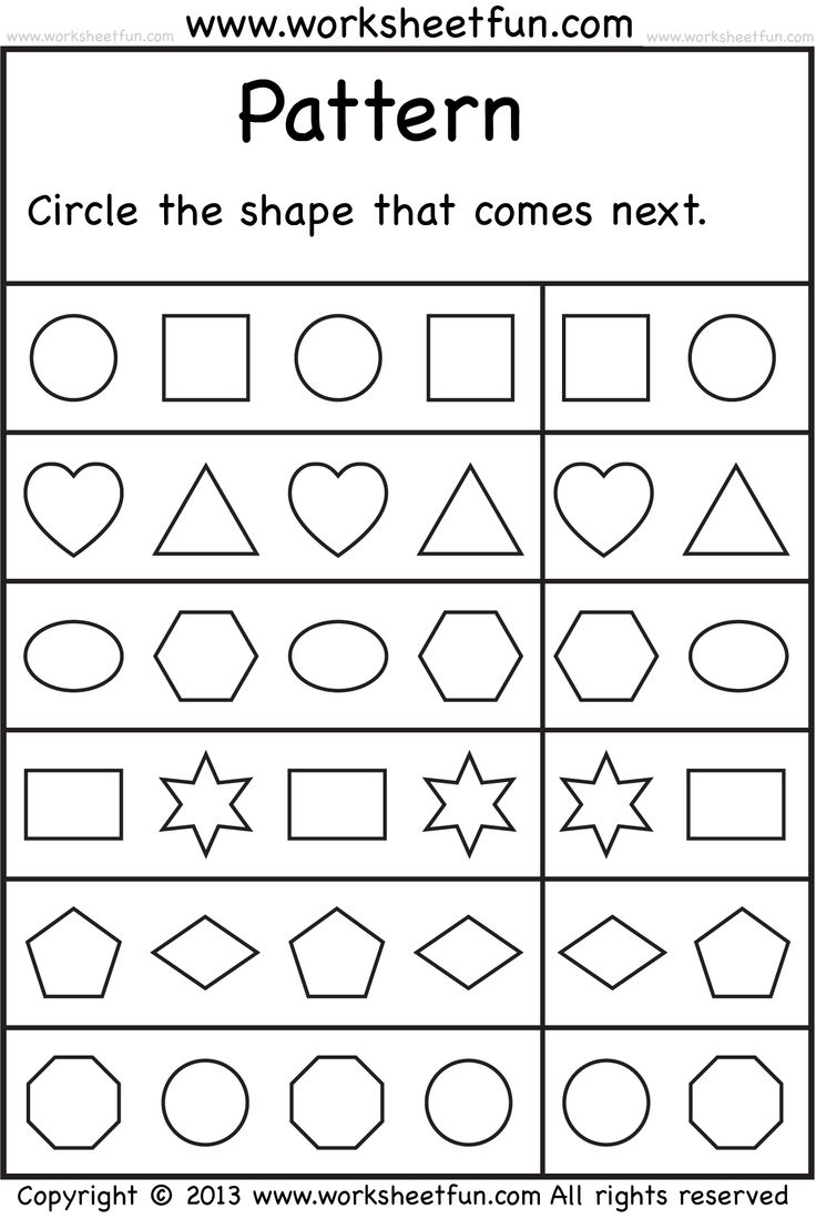 Printables Free Picture Pattern Worksheets free printable shapes pattern worksheet crafts and worksheets shape for kids
