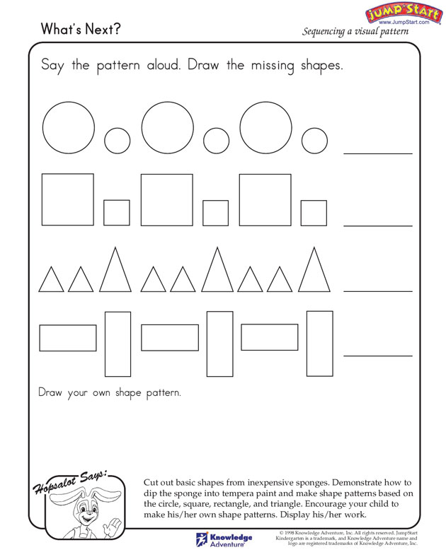 CraftsActvities and Worksheets for PreschoolToddler and Kindergarten – Patterning Worksheets for Kindergarten