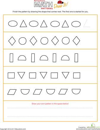 shapes pattern worksheets