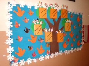 spoon bird bulletin board