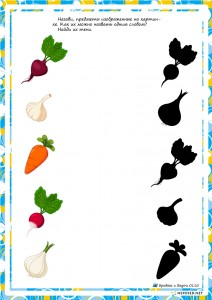 vegetable shadow worksheet