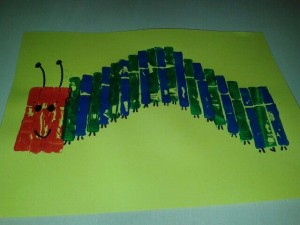 clothes pin stamp caterpillar