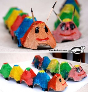 egg carton caterpillar