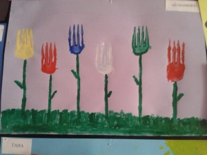 fork print flower