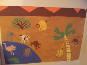 handprint and footprint african animals